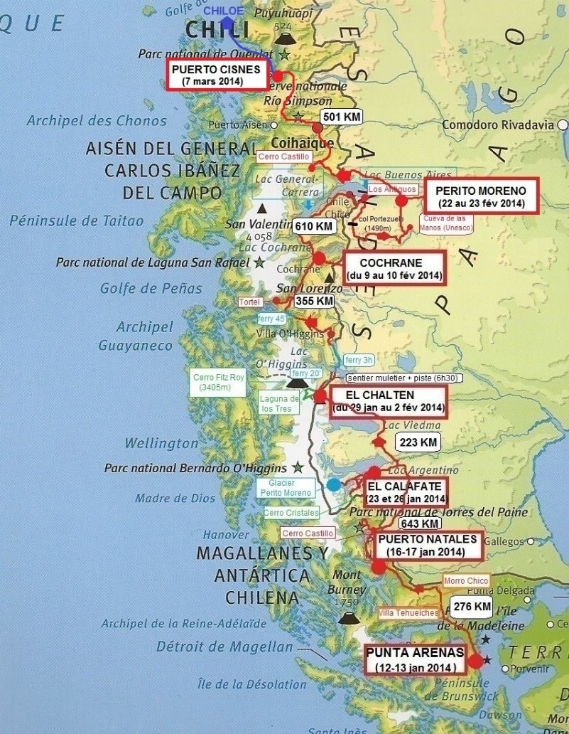 carte Patagonie andine