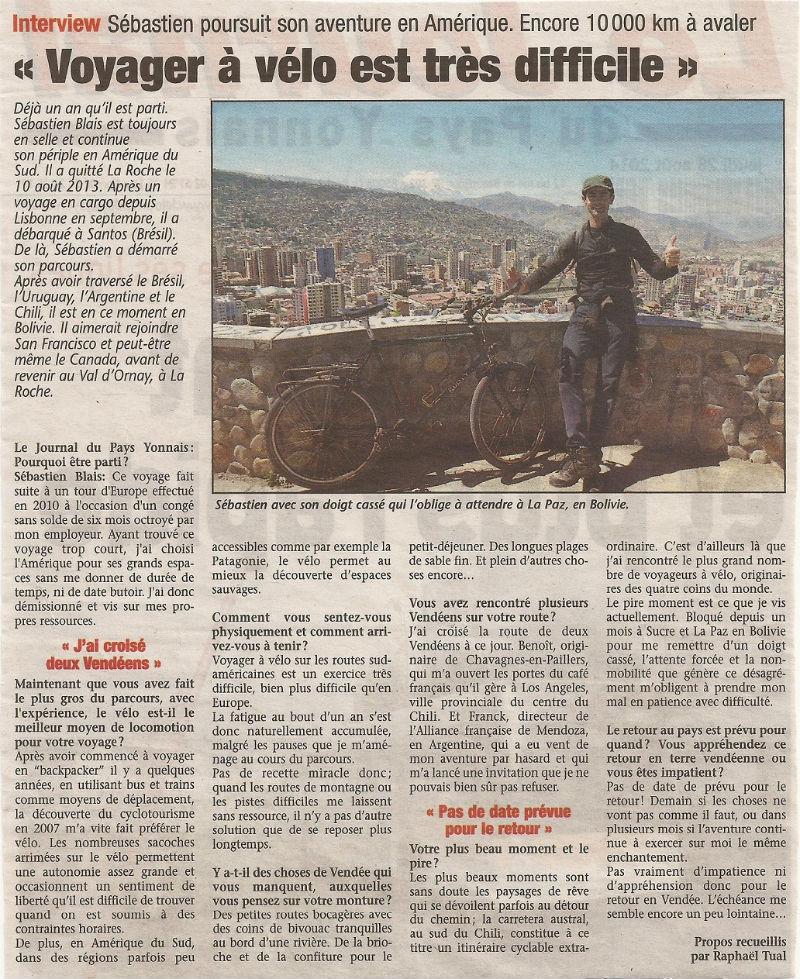 article Pays Yonnais interview la Paz
