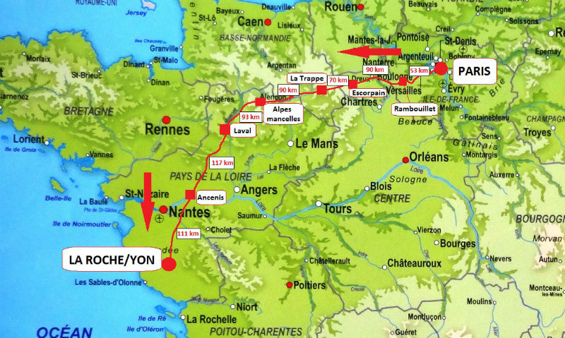 itinéraire Paris-La Roche