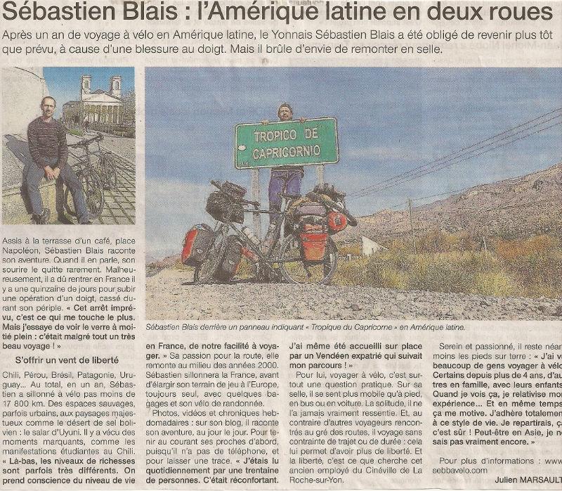 article Ouest-France fin périple Amerique