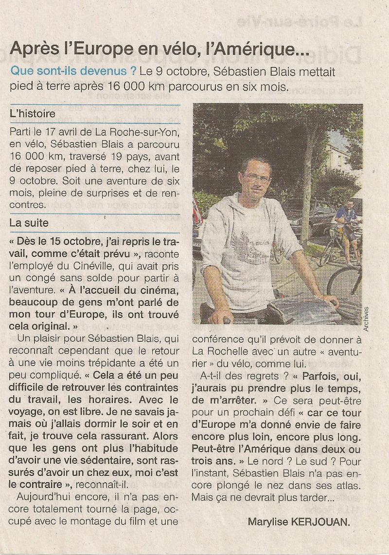 article Ouest-France départ Amerique