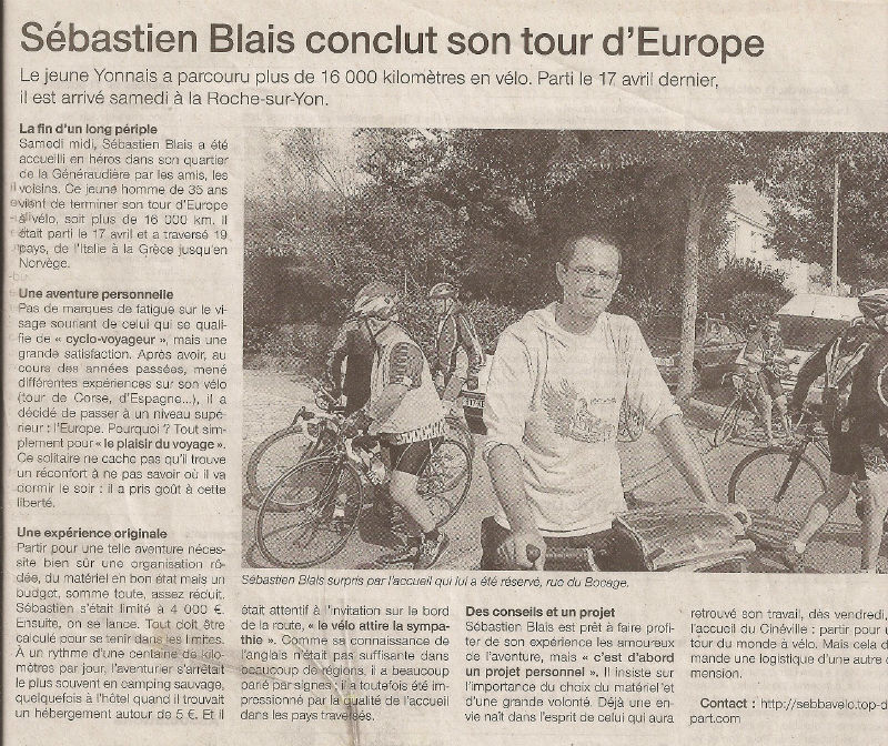 article Ouest-France tour d`Europe