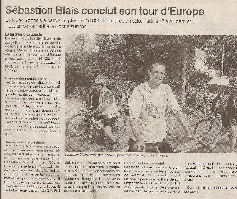 article Ouest-France tour d`Europe