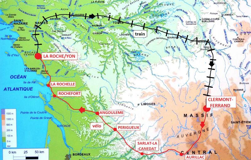 itinéraire Clermont-Ferrand à La Roche/Yon