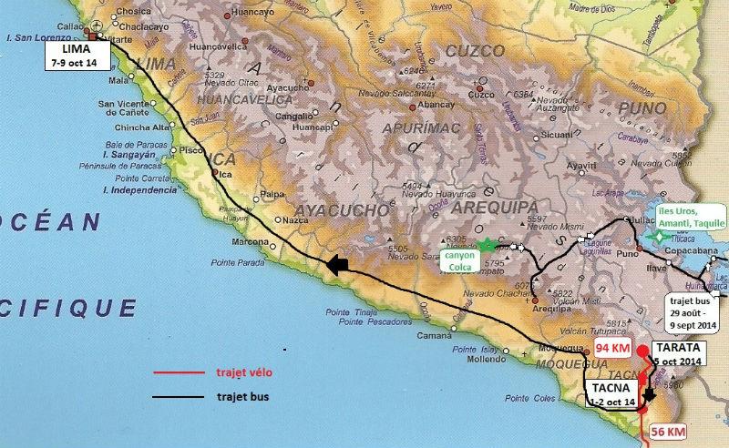 carte Pérou à vélo