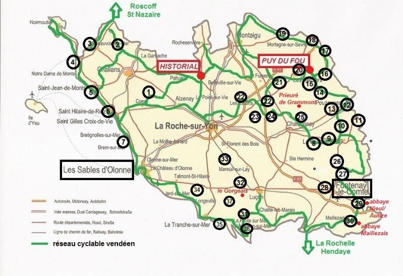 carte Vendée à vélo